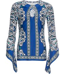 abito in maglina con maniche a campana (blu) - bodyflirt boutique