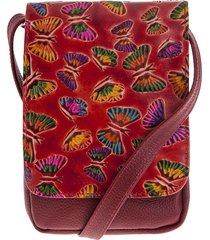 bolso manos libres c299 cuero rojo mariposas