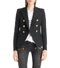 women's balmain double breasted wool blazer, size 12 us - black