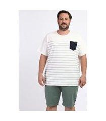 camiseta masculina plus size estampada listrada com bolso manga curta gola careca off white