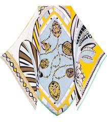 emilio pucci faux-pearl embellished silk scarf - pink