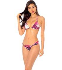 biquini mos beachwear labadee estampado lionfish - rosa - feminino - dafiti
