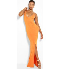 tall jersey maxi jurk met laag decolleté en halter neck, orange