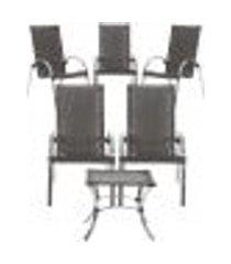 jogo cadeiras 5un e mesa de centro garden para edicula jardim area varanda descanso - tabaco