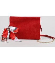 bolsa feminina transversal média em suede com lenço e corrente vermelho