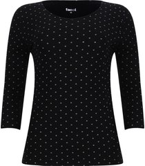 camiseta manga 3/4 puntos color negro, talla xs