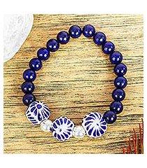 lapis lazuli and ceramic stretch bracelet, 'indigo garden' (mexico)