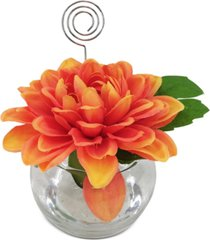 martha stewart collection exotic escape artificial dahlia placecard holder, created for macy's