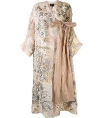 biyan razmira floral-embroidered patchwork evening coat - pink