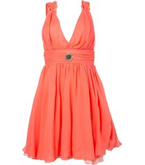 pink silk mini plunge dress