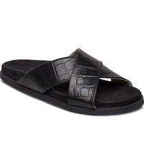 route croco cross slipper shoes summer shoes flat sandals svart royal republiq