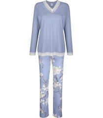 pyjama ringella duifblauw/wit/aubergine