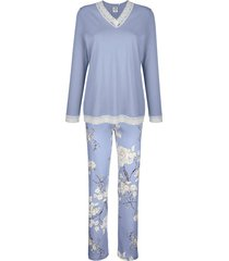 pyjama ringella rookblauw::wit::aubergine