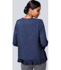 blus med plisserad nederkant alba moda marinblå
