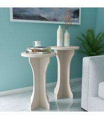 mesas de canto conjunto 2 peças luck 100% mdf off white - artely
