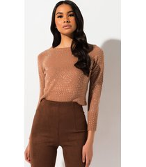 akira cozy girl rhinestone cropped sweater