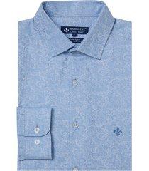 camisa dudalina manga longa jacquard fio tinto masculina (azul claro 2, 6)