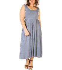 black tape plus size banded-waist knit midi dress