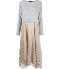 fabiana filippi cashmere colour-block dress - neutrals
