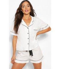 jersey pyjama set met shorts en knopen, wit