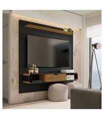 painel lisboa para tv até 65 pol móveis bechara 1 porta preto e cinamomo
