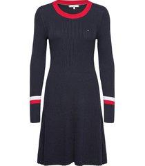 th warm c-nk fit & flare dress korte jurk blauw tommy hilfiger