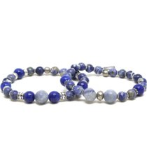 mr ettika sodalite and elastic bracelet, pack of 2