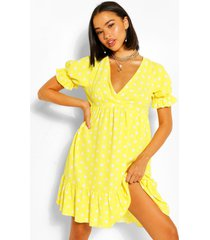 chiffon gesmokte jurk met stippen en ruches, yellow