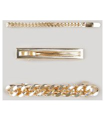 kit de 3 presilhas femininas de corrente e grampo dourado