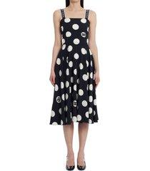dolce & gabbana polka dot charmeuse fit & flare dress, size 12 us in black print at nordstrom