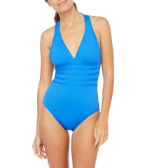 women's la blanca cross back one-piece swimsuit, size 2 - blue