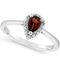 garnet (3/8 ct. t.w.) and diamond accent ring in sterling silver