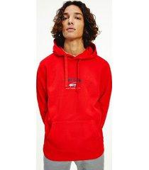 tommy hilfiger men's organic cotton logo hoodie deep crimson - xs