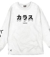 camiseta cuervo daring - longa branco - branco - masculino - dafiti
