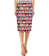 library book case midi pencil skirt