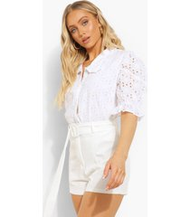 broderie blouse met pofmouwen, ivory