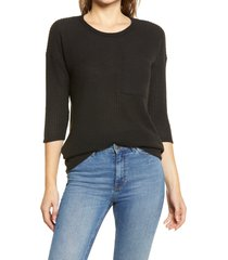 women's bobeau thermal pocket tunic, size x-small - black
