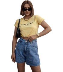 blusa in love t-shirt  a vida amarela - amarelo - feminino - algodã£o - dafiti