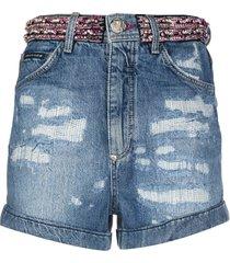 philipp plein rhinestone-embellished denim shorts - blue