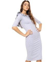 vestido gris prussia jacinta