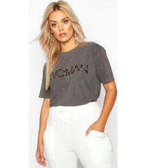 plus washed effect leopard woman t-shirt, charcoal