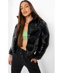 glanzende gewatteerde donzen jas met hoge hals, black