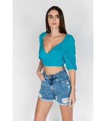 blusa dimy cropped com transpasse - feminino