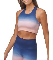 marc new york performance women's ombre crop tank top - midnight combo - size s