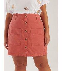 saia com bolsos e botões curve & plus size