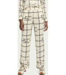 scotch & soda high-rise broek in pyjamastijl met print