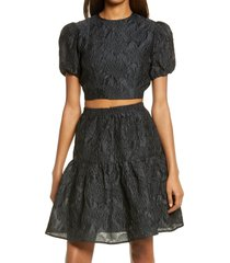 bardot demi floral jacquard puff sleeve crop top, size small in black at nordstrom