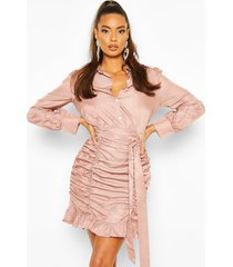 bodycon blouse jurk met ruches, rose