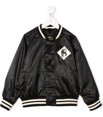 mini rodini panther patch bomber jacket - black