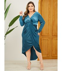 yoins plus size christmas blue wrap design v-neck velvet dress